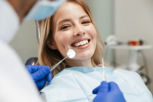 Patient at routine checkup with dentist